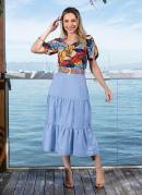 Blusa Franzida Folhas Color Moda Evangélica