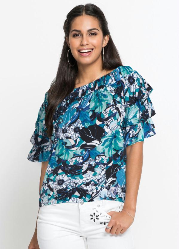 Blusa Ombro a Ombro com Babados (Floral Azul)