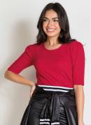 Blusa Ombro Franzido Vermelha Moda Evangélica