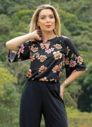 Blusa Preta e Floral com Mangas Amplas e Gota