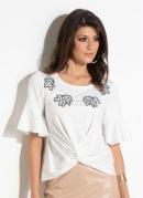Blusa Quintess Off White com Bordados