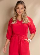 Blusa Vermelha com Decote V e Mangas Bufantes