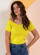 Blusa Amarela com Decote Canoa