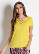 Blusa Amarela com Strappy no Decote