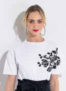 Blusa Ampla com Estampa Branca Quintess