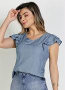 Blusa Azul com Babados Moda Evangélica