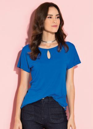Blusa (Azul) com Decote Gota