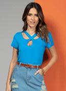 Blusa Azul com Tiras no Decote