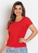 Blusa Básica Vermelha Moda Evangélica