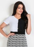 Blusa Preta e Branca com Botões Moda Evangélica