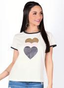 Blusa Bicolor com Estampa de Corações Off White