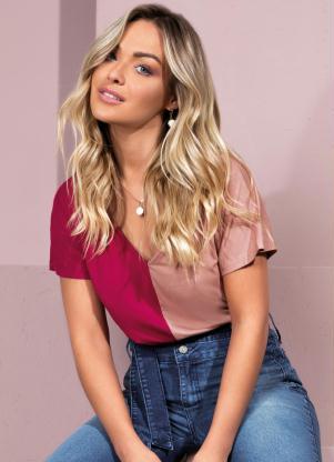 Blusa Bicolor com Mangas Curtas (Rosa e Bordô)