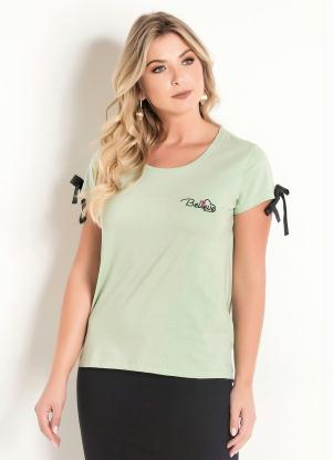 a0e2b982e Blusa Bordada Verde Moda Evangélica - SouLojista