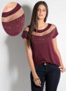 Blusa Bordô com Faixa Transparente no Decote