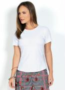 Blusa Branca Básica com Manga Curta