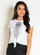 Blusa Branca com Estampa e Detalhe em Nó