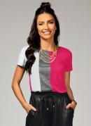 Blusa Branca e Pink com Recorte Frontal