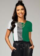 Blusa Branca e Verde com Recorte Frontal