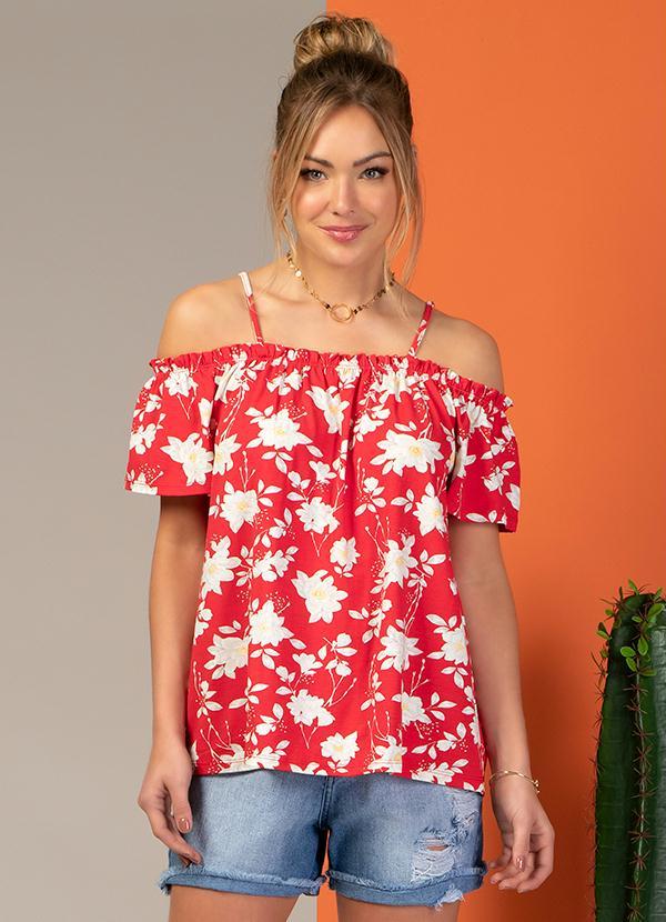 Blusa Ciganinha com Alça (Floral Vermelha)