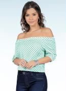 Blusa Ciganinha com Mangas Curtas Listrada Verde