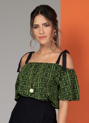Blusa com Alças para Amarrar (Geométrico Verde)