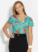 Blusa com Argolas no Decote Floral Turquesa