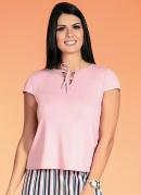 Blusa com Cordel de Amarrar Rosa Moda Evangélica