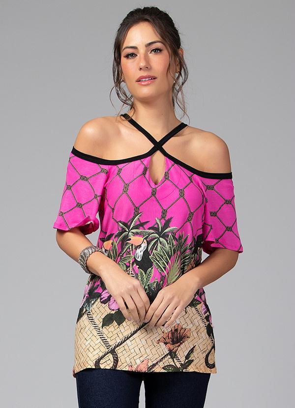Blusa com Decote em X (Tropical Pink)