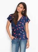 Blusa com Decote V Floral Azul