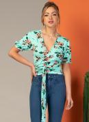 Blusa com Faixa Transpassada Floral Verde