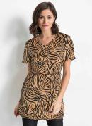 Blusa com Fenda e Faixa Animal Print Bege