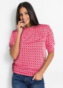 Blusa com Gola Alta Estampada Rosa Pink