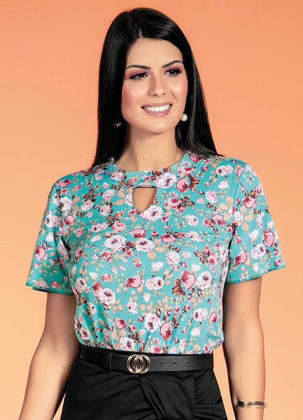 Blusa com Gota (Floral Rosa) Moda Evangélica