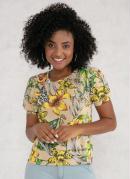 Blusa com Manga Bufante Floral Bege