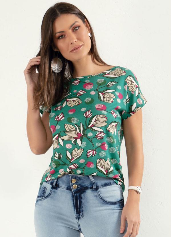 Blusa com Mangas Curtas (Floral Verde)