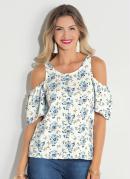 Blusa com Ombros Vazados Quintess Floral Azul