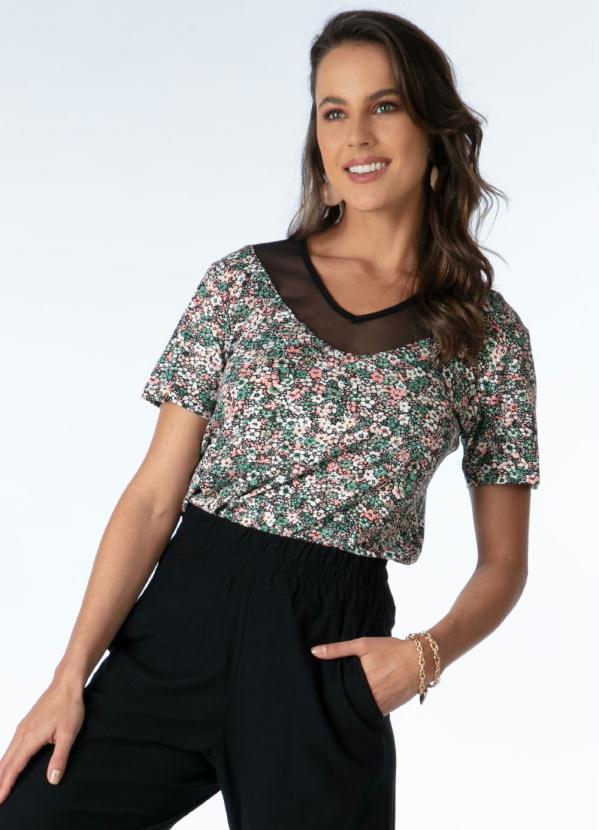 Blusa com Recorte em Tule (Floral Verde)