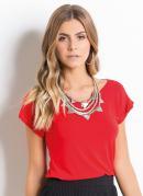 Blusa com Recortes Costas Vermelha Quintess