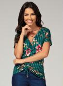 Blusa com Repuxado Frente Floral/Verde