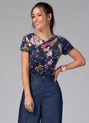 Blusa com Tiras no Decote Floral Marinho