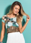 Blusa Cropped Quintess Mix Floral