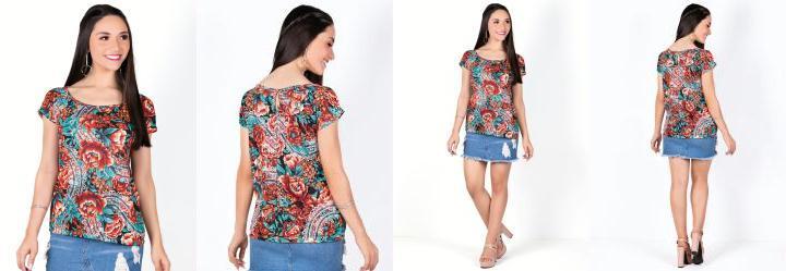 Blusa Decote Canoa Floral com Detalhe em Gota
