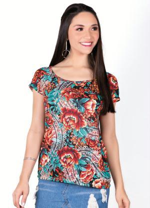 Blusa Decote Canoa (Floral) com Detalhe em Gota