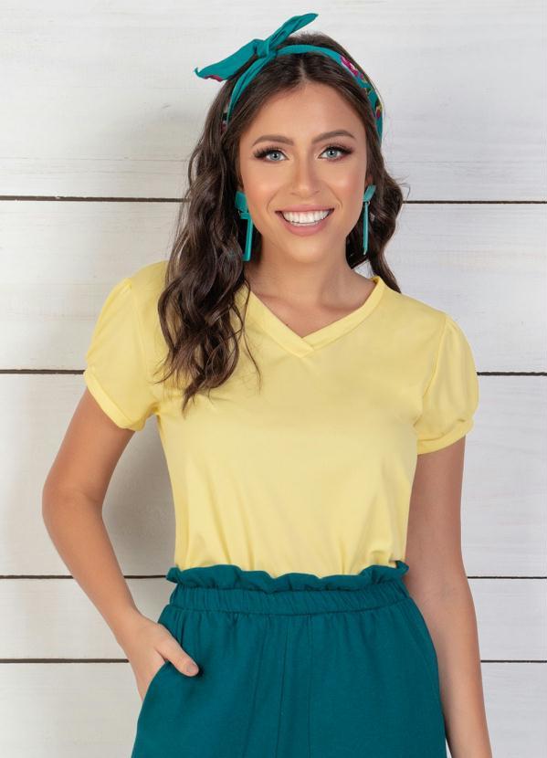 Blusa Decote em V (Amarelo)