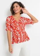 Blusa Decote V Transpassado Floral Vermelho
