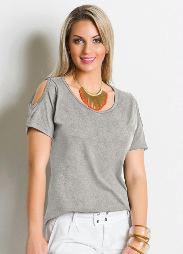 Blusa Detalhe com Recortes (Mescla)