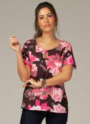 Blusa em Tecido Leve Floral Rosa