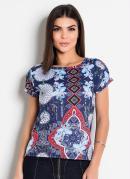 Blusa Estampada com Ombro Vazado Moda Evangélica