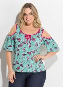 Blusa Flamingo Ombros Vazados Plus Size Quintess