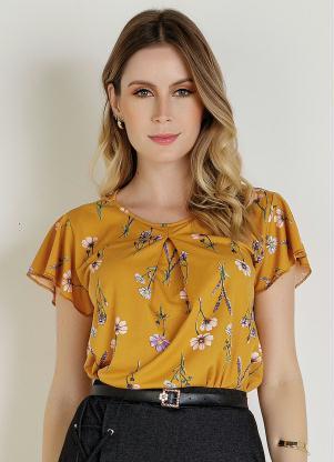 Blusa (Floral Amarela) com Prega Moda Evangélica